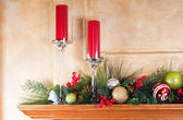 Decorated fireplace mantle for Christmas — Stock Photo