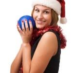 Smiling women holding christmas toy — Stock Photo