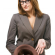Business woman with hat begging for money — Stock Photo