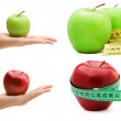 Stock Photo: Collage of four pictures of apple