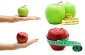 Collage of four pictures of apple — Stock Photo