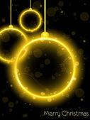 Golden Neon Christmas Ball on Black Background — Stock Vector