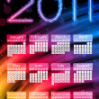 Stock Vector: Colorful 2011 Calendar on Black Background. Rainbow Colors