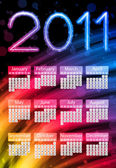 Colorful 2011 Calendar on Black Background. Rainbow Colors — Stock Vector