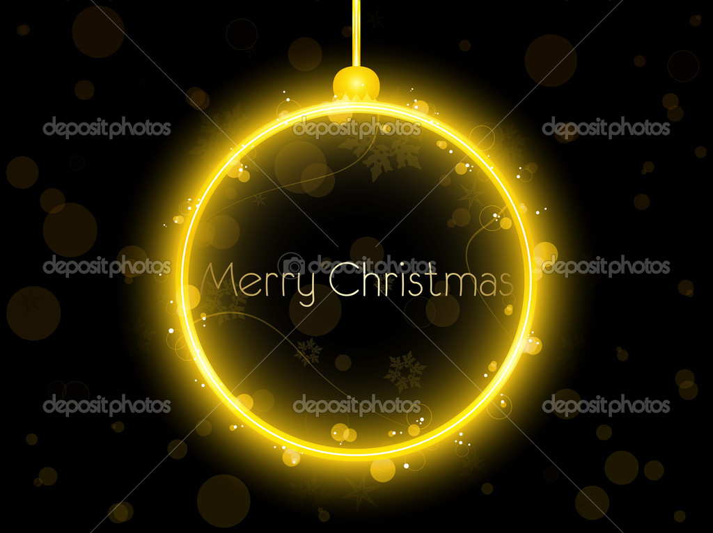 Vector - Golden Neon Christmas Ball on Black Background — Stock Vector #4149891
