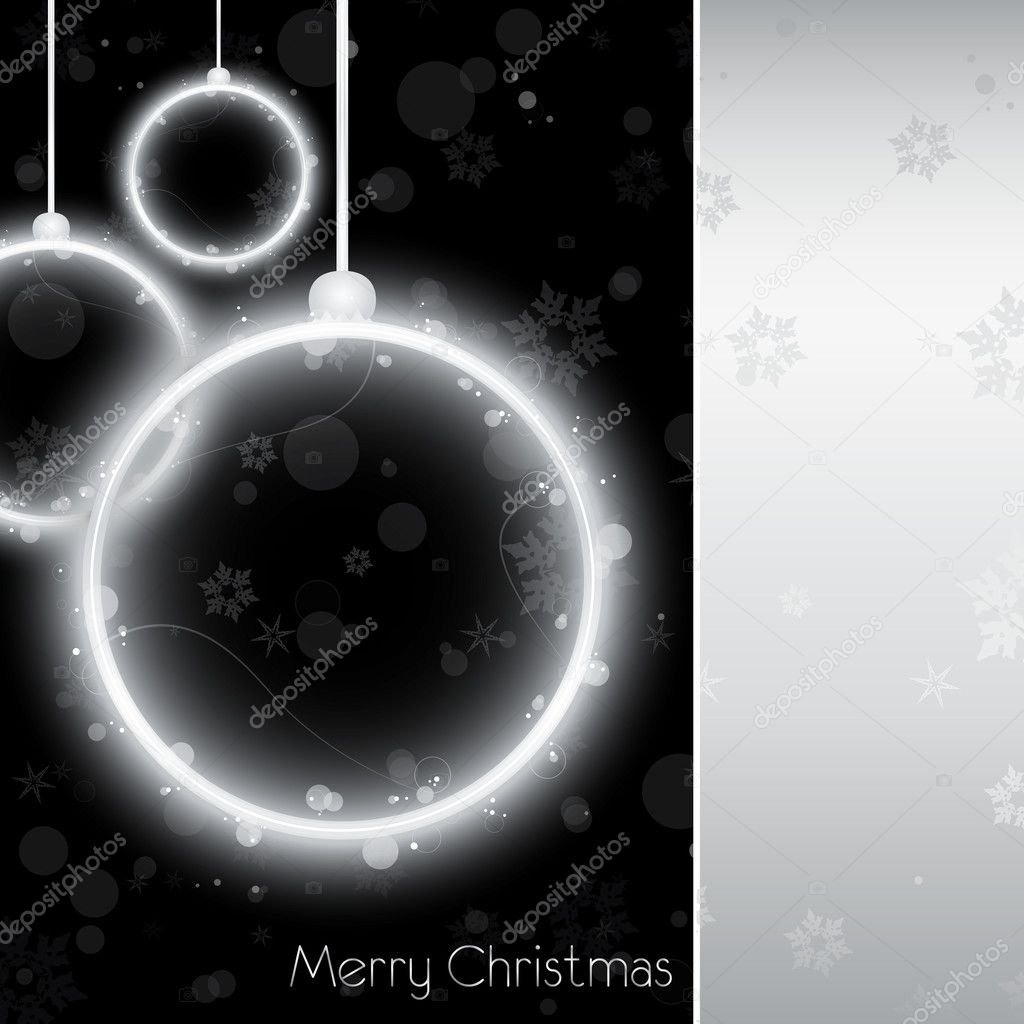 Vector - Silver Neon Christmas Ball Card on Black Background — Stock Vector #4149893
