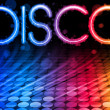 Disco Abstract Colorful Waves on Black Background — Stockvektor