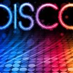 Disco abstract colorful Wellen auf schwarzem Hintergrund — Stockvektor