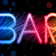 Bar Sign Abstract Colorful Waves on Black Background — Stock Vector