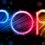 Popmusik Partei abstrakt bunt Wellen auf schwarzem Hintergrund — Stockvektor