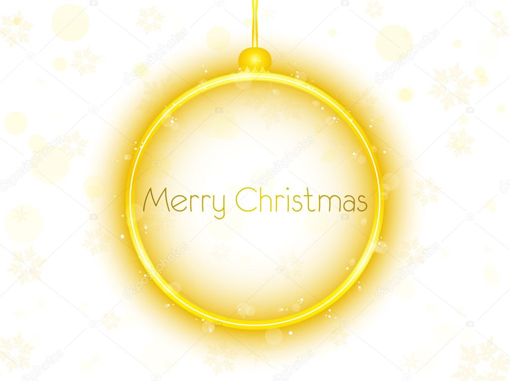 Vector - Golden Neon Christmas Ball on White Background — Stock Vector #4423926