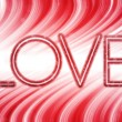 Valentine Day Love Word Abstract Colorful Waves on White Backgro — Stock Vector