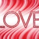 Palabra de amor de San Valentín día abstracta de las ondas coloridas centrico blanco — Vector de stock