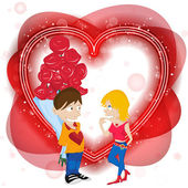 Young Couple in Love with Flowers. Happy Valentine — Stock Vector