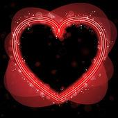 Červené srdce hranice s leskne a víry. — Stock vektor