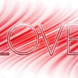 Valentine Day Love Word Abstract Colorful Waves on White Backgro — Vector de stock