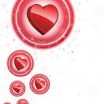 Happy Valentine's Day Neon Heart Bubbles Background — Stock Vector