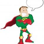 Super hero Man with Speech Bubble — Stock Vector