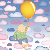 Young Child boy with balloon with Clouds Background — Stock Vector