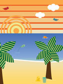 Retro Beach Landscape Season Summer — Stock Vector