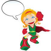 Super hero Girl with Speech Bubble — Stock Vector