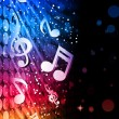 Party Abstract Colorful Waves on Black Background with Music Not - Stock Vector