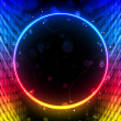Disco Abstract Circle Box on Black Background — Stock Vector
