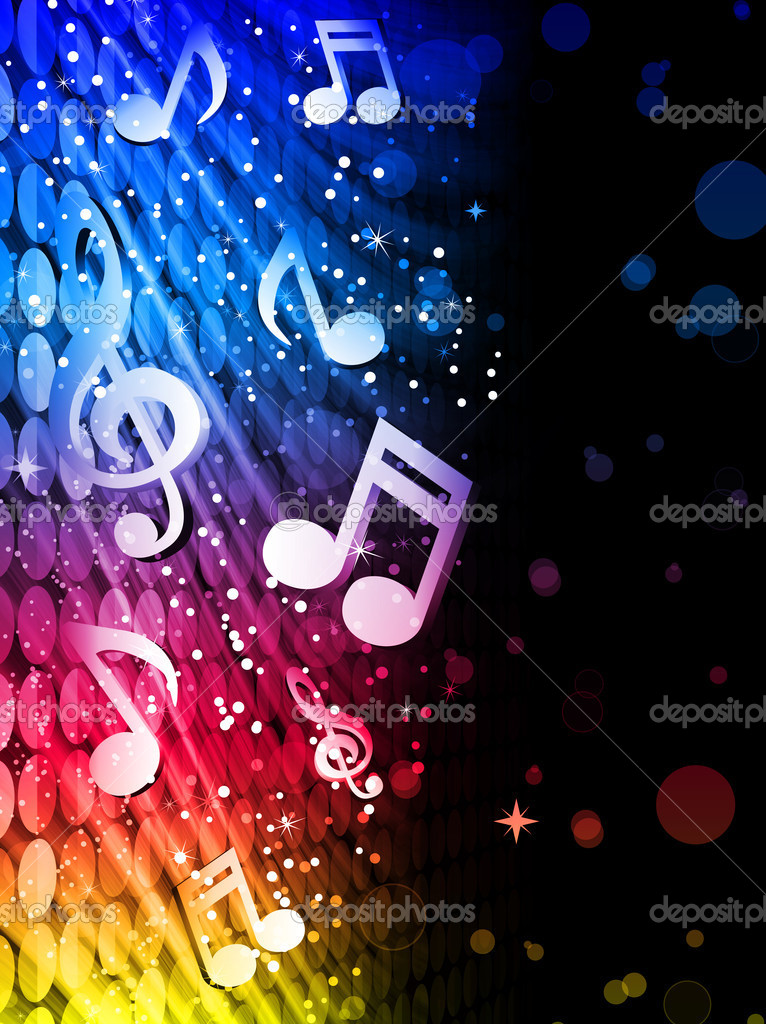 Vector - Party Abstract Colorful Waves on Black Background with Music Notes  Grafika wektorowa #4925633