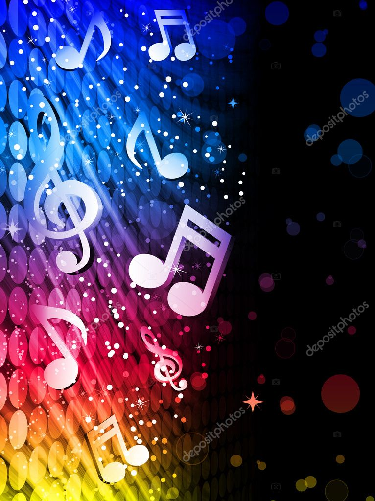 Vector - Party Abstract Colorful Waves on Black Background with Music Notes — Imagen vectorial #4925633