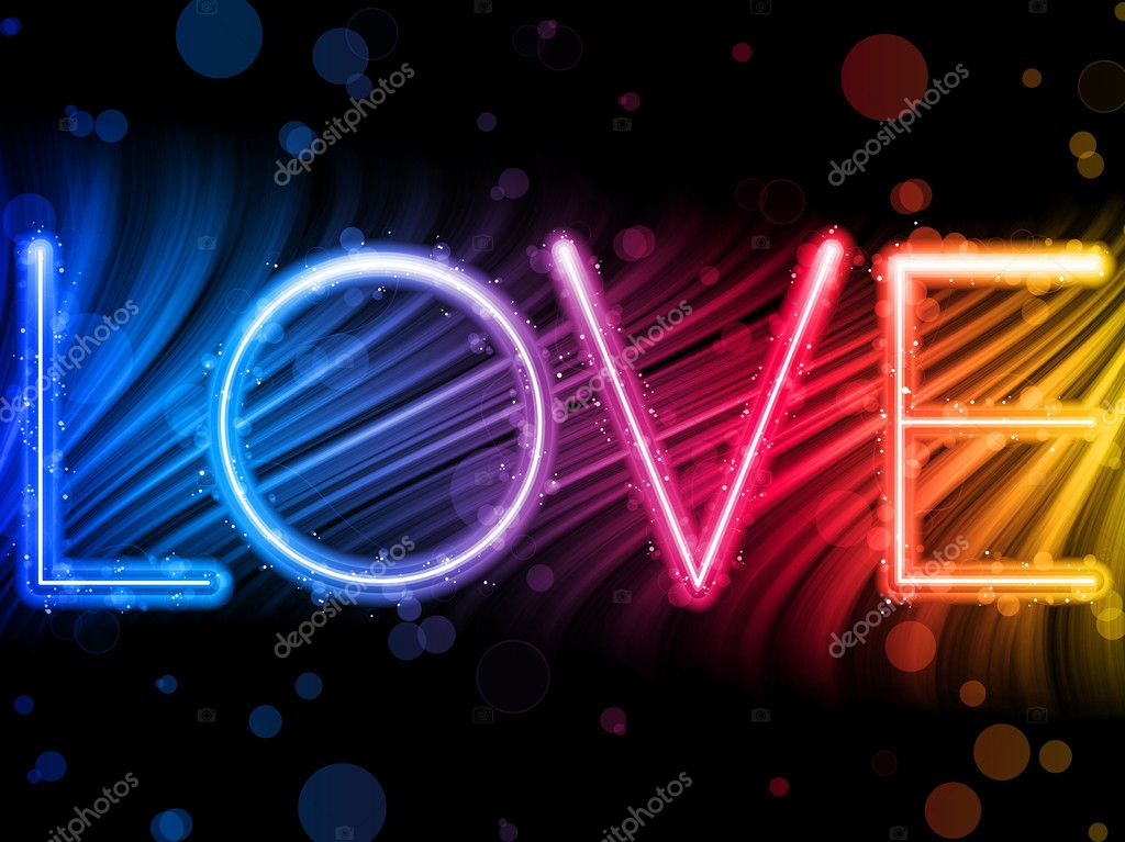 Vector - Valentine Day Love Word Abstract Colorful Waves Rainbow Background — Stok Vektör #4925674