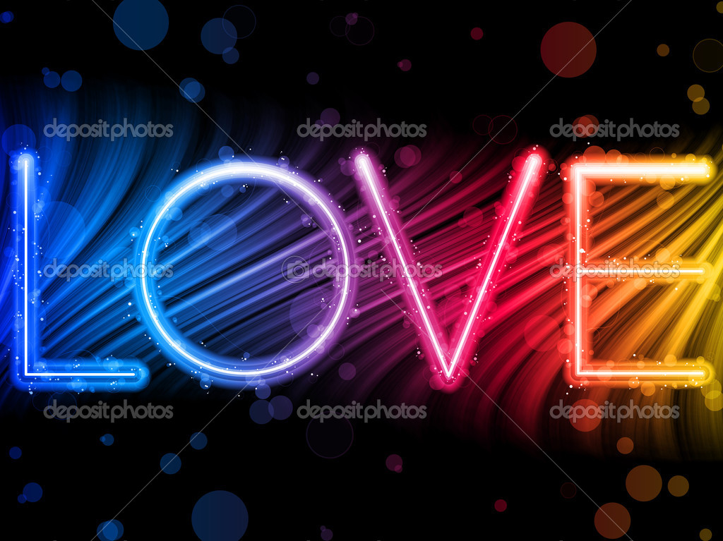 Vector - Valentine Day Love Word Abstract Colorful Waves Rainbow Background — Векторная иллюстрация #4925674