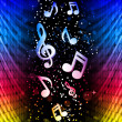 图库矢量图片: Party Abstract Colorful Waves on Black Background with Music Not