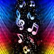 Nichtvertragsstaaten Sie abstrakte farbenfrohe Wellen auf schwarzem Hintergrund mit Musik — Stockvektor