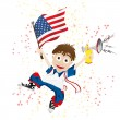 United States of America Sport Fan with Flag and Horn — Stockvector #5206871
