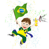 Brazil Sport Fan with Flag and Horn — Stock Vector