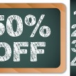 Sale Percentages on Blackboard with Chalk. Other percentages in  — Stock Vector