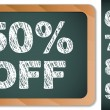 Sale Percentages on Blackboard with Chalk. Other percentages in - Stock Vector