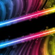 图库矢量图片: Disco Abstract Colorful Waves on Black Background