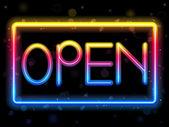 Aprire il colore di arcobaleno segno al neon — Vettoriale Stock