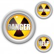 Royalty-Free Stock Vector Image: Radioactive Danger Yellow Button. Caution Radiation