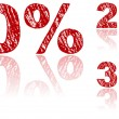 Sale Percentages Written in Red Chalk - Set 1 of 3 - Stock Vector