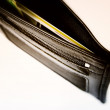 Black leather wallet — ストック写真