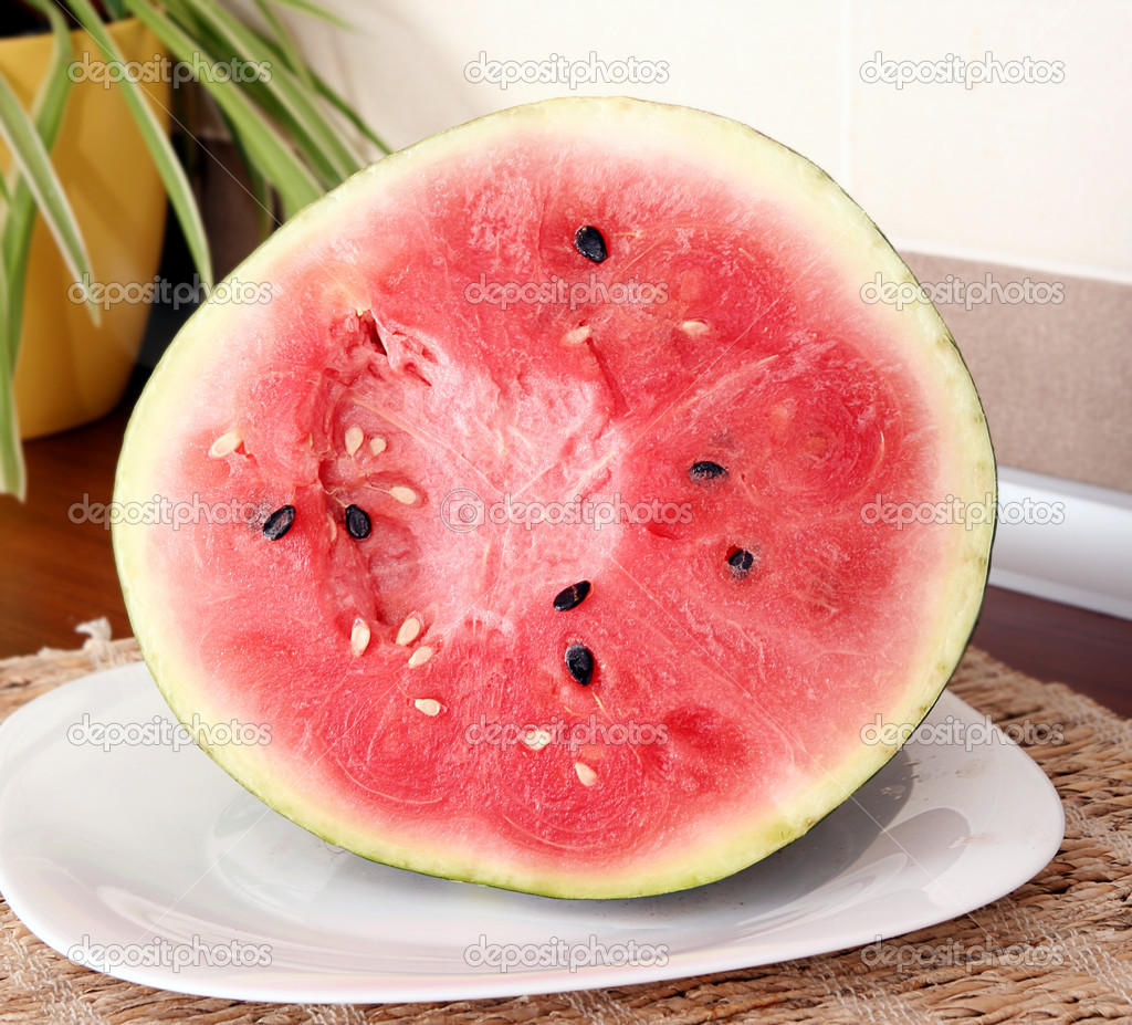 A slice of juicy water melon . — Stock Photo #5378596
