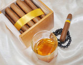 Cigars, cognac and pearls — Stock Photo