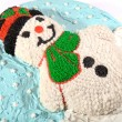 Snowman Cake on White — Stock Photo