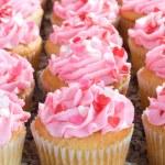 Pink Valentine Cupcakes with Sprinkles — Stock Photo