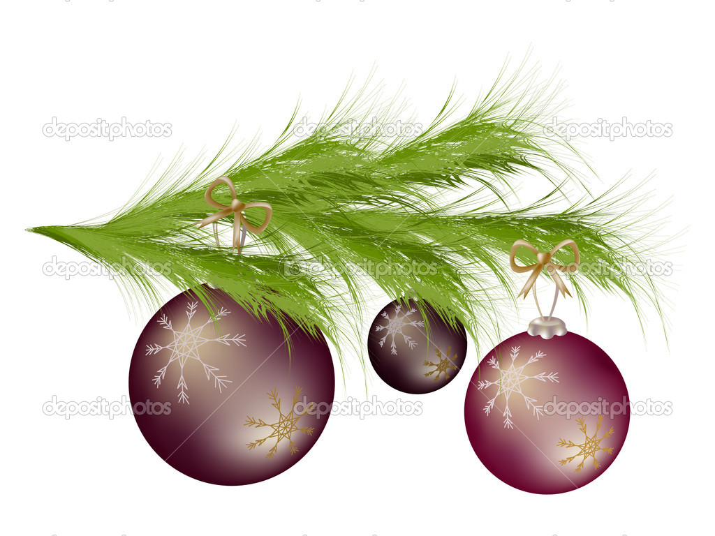 Branch of the Christmas tree with balls  Stock Vector #4054516