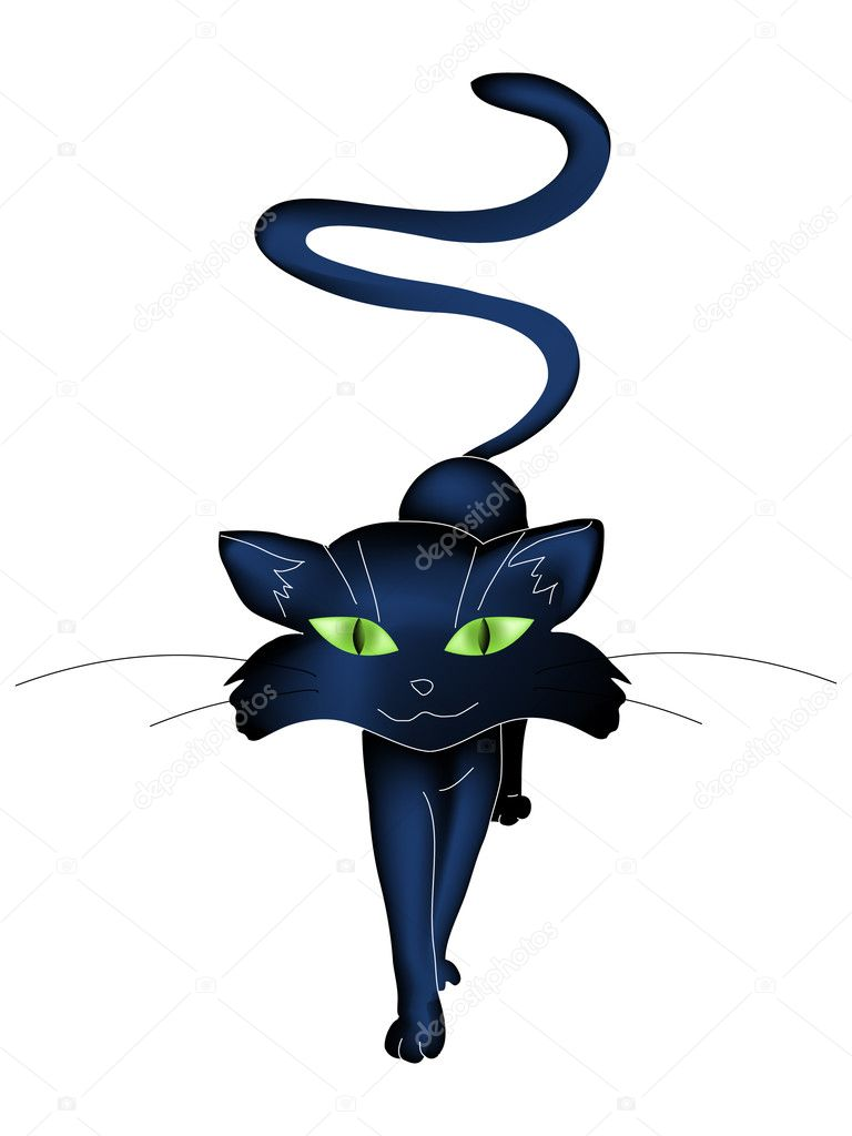 Illustration of black cat isolated on white background — Stock Vector #4142088