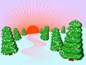 冬季森林 — 图库矢量图片