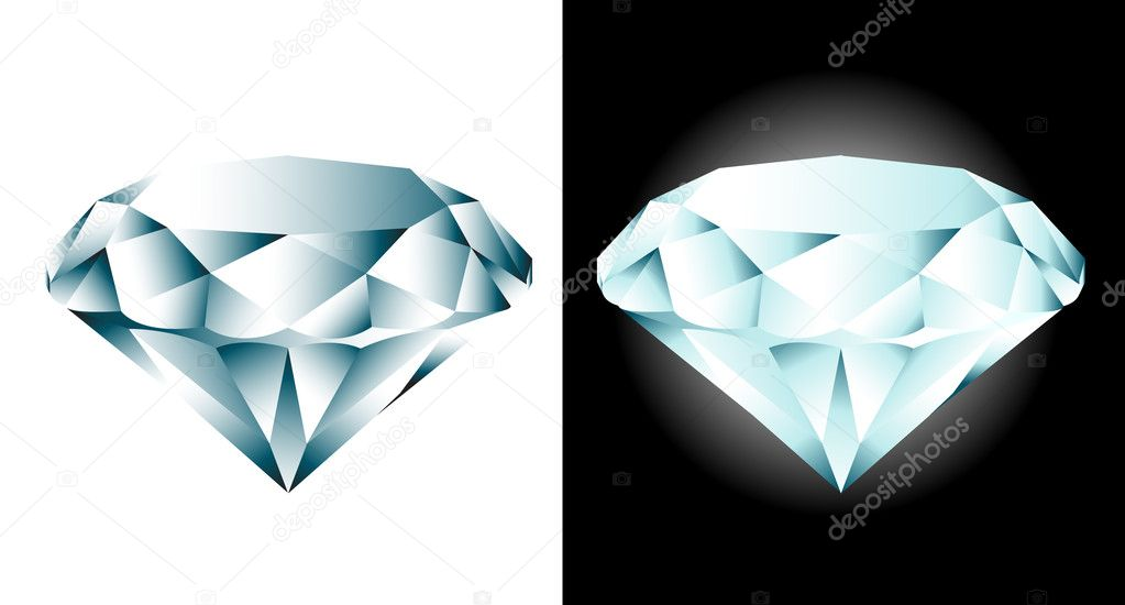 Two blue diamonds on white and black background — Stock Vector #4614796